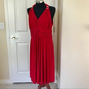 JONES NEW YORK Red Halter Fit Flare Dress 18W